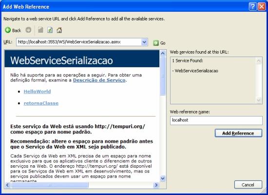 Adicionando referência ao Web Service