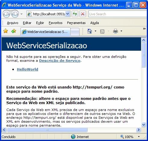 Tela do browser com o Web Service