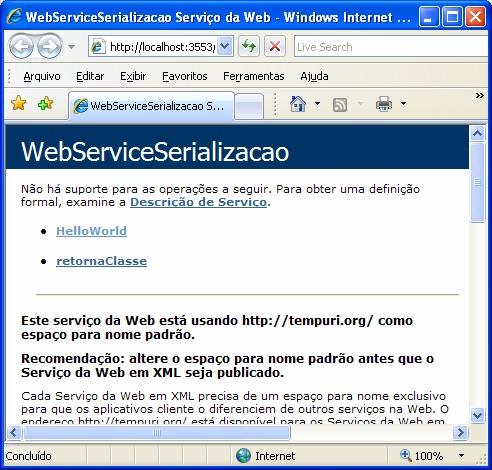 Método criado no Web Service sendo mostrado no browser