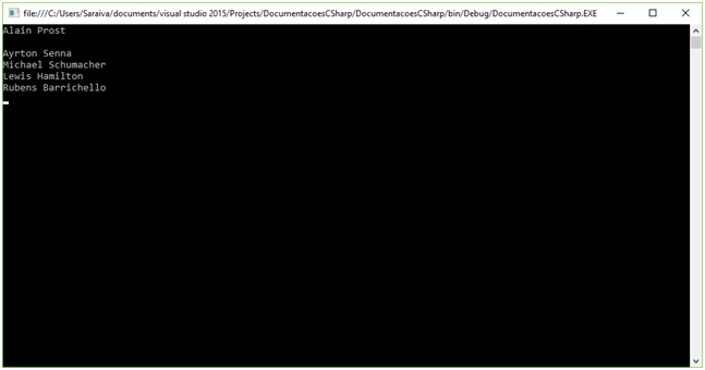 Execução do exemplo C# Arrays