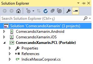 Projeto Xamarin com aplicações iOS, Android e Windows 8.1