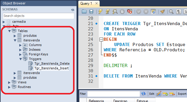 Object Browser no MySQL Workbench