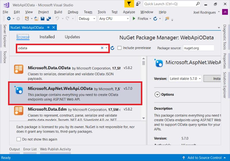 Passo 2: Pesquisar por OData e instalar o pacote Microsoft.AspNet.WebApi.OData