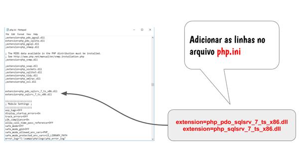Adicionando as linhas dos drivers SQL Server
