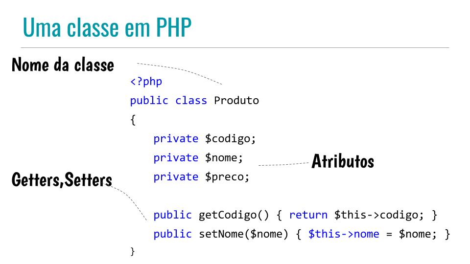 Código de uma classe em PHP