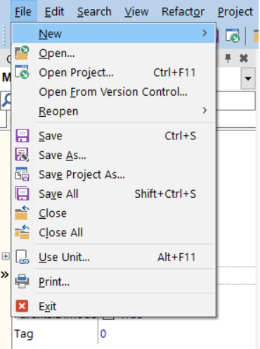 Figura 1: Mnemônico no menu da IDE do Delphi