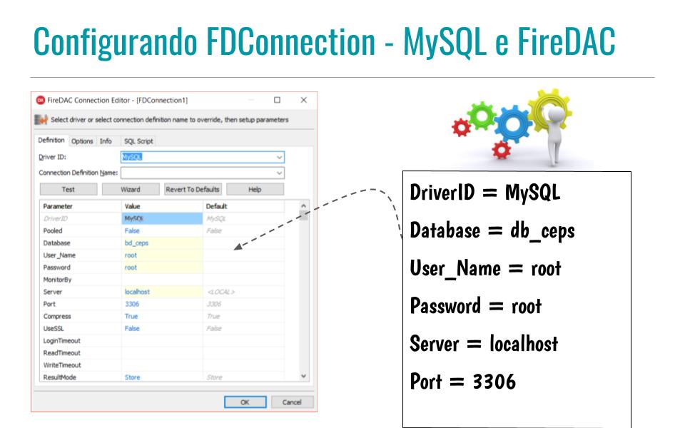 Configurando FDConnection - MySQL e FireDAC