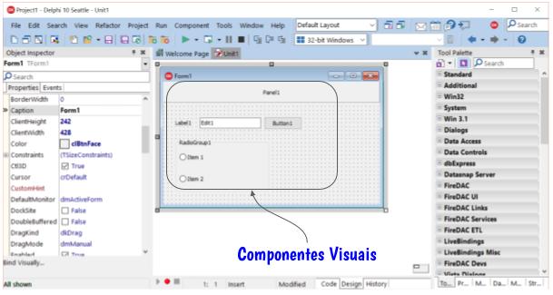 Exemplos de componentes visuais