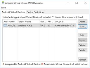 Iniciando o emulador Android