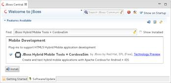 Tela de download do plugin JBoss Hybrid Mobile