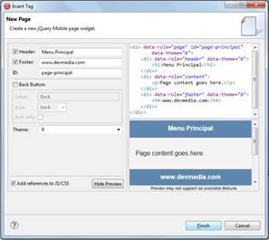 Criação de uma página utilizando o componente Page da paleta