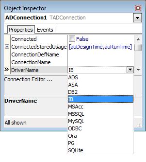 Lista de drivers para os bancos de dados suportados pelo FireDAC