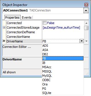 Novo driver virtual sendo mostrado na listagem de drivers do componente ADConnection