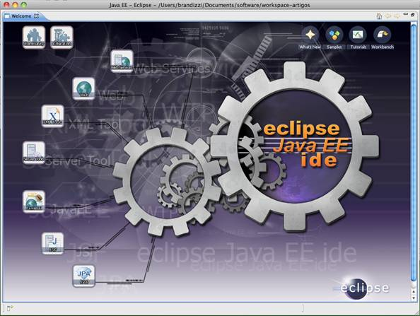 Tela inicial de um workspace novo do Eclipse