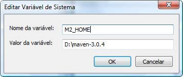 Variável de ambiente que aponta para a localização do Maven no sistema operacional