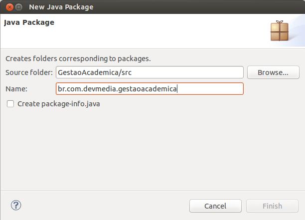 Criando o pacote-base da aplicação