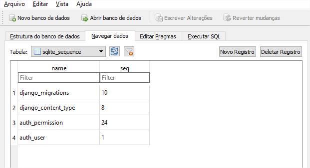 Visualizando dados da tabela sqlite_sequence via SQLiteBrowser
