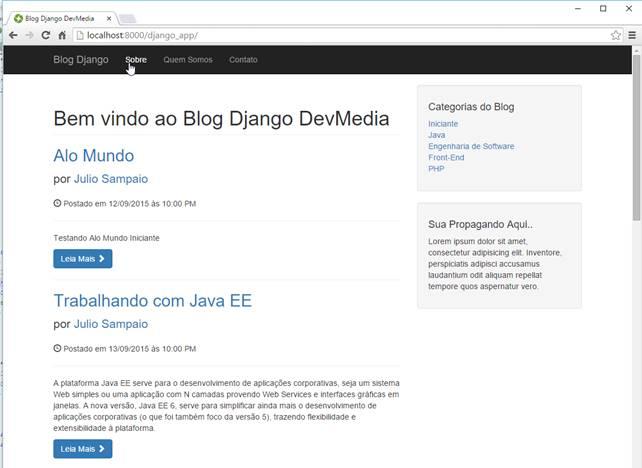 Resultado do blog estilizado com o Bootstrap