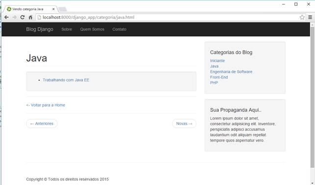 Página de categoria visualizada sob novo estilo