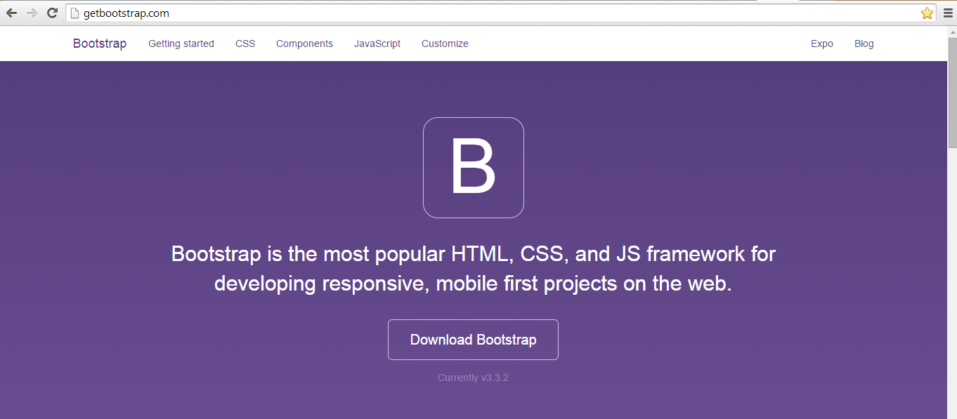 website oficial do Bootstrap