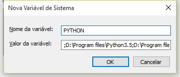 Configurando variável de ambiente do PYTHON