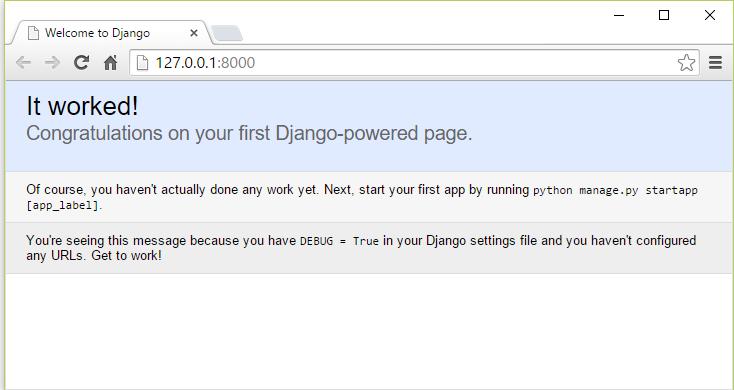 Tela inicial do projeto Django