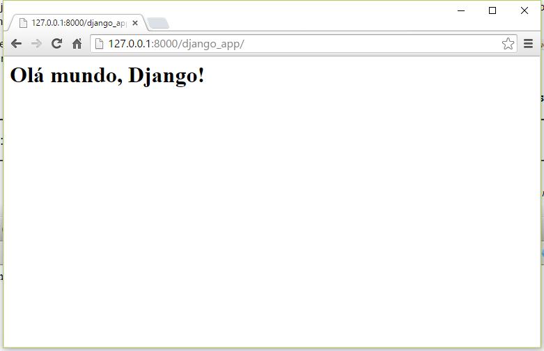 Tela inicial do app criado no Django
