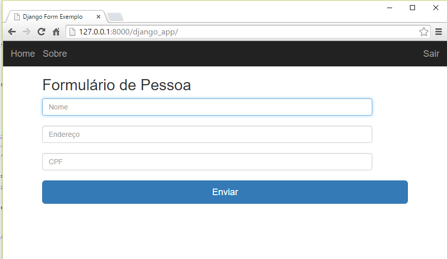Tela final de formulário com estilo do Bootstrap