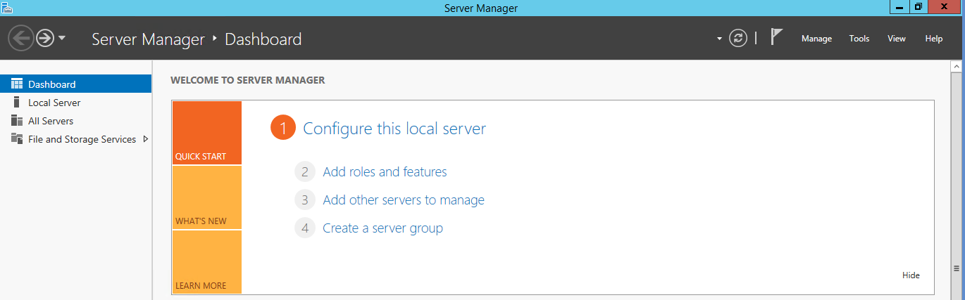 Server Manager com a guia