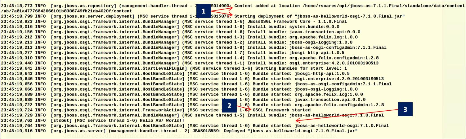 Startup do subsistema JBoss OSGi e hotdeploy do bundle helloworld-osgi