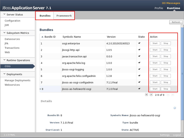Gerenciamento do subsistema OSGi através do console web do AS 7