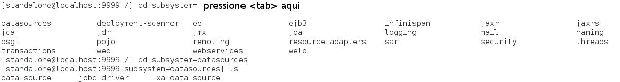 Exemplo de comandos cd, ls e autocomplete com a tecla <tab>