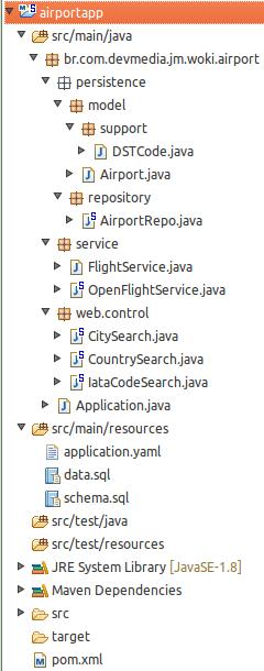 Projeto airportapp e seus arquivos no Eclipse