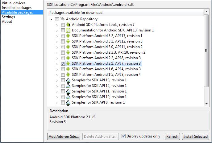 SDK Manager, download da plataforma