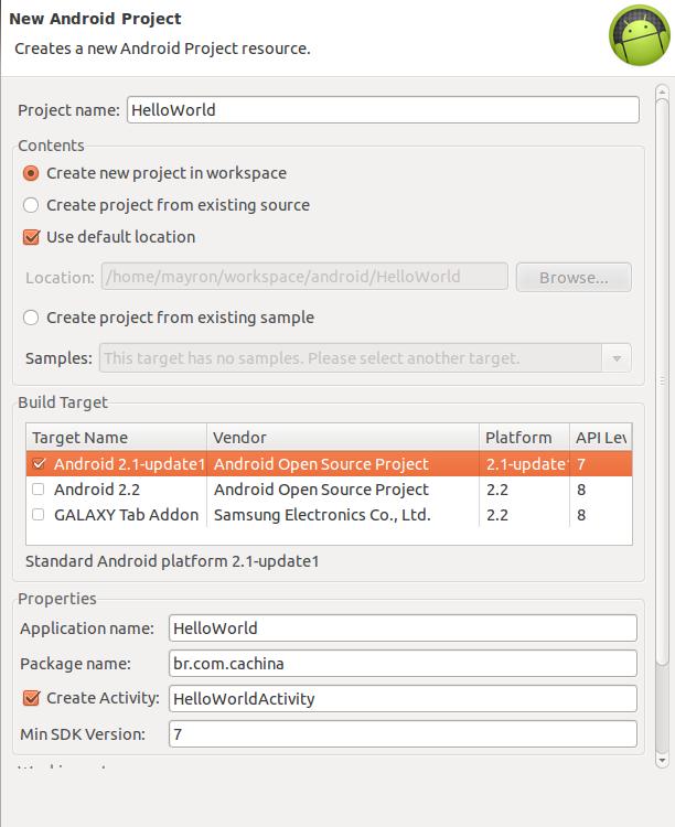 Criando o novo projeto