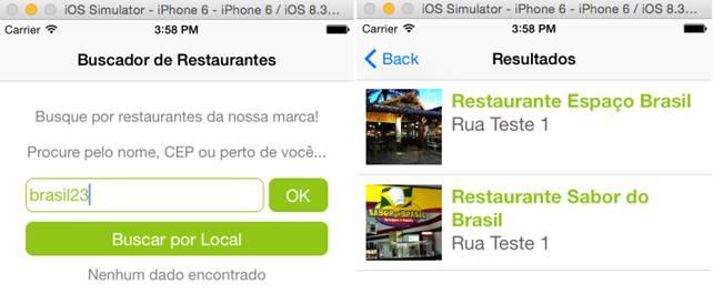 Telas finais do aplicativo de busca de restaurantes já pronto
