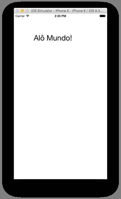 Tela de AloMundo exibida no emulador