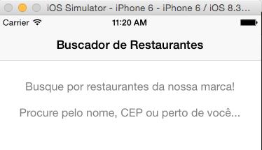 Tela de Buscas de Restaurantes inicial