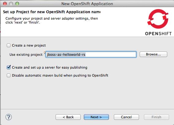 Escolhendo o projeto para ser enviado ao OpenShift