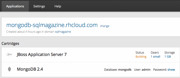 Web Service sendo construído no OpenShift