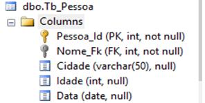 Tabela com as cinco constraints criada no SQL Server