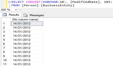 Convertendo a data usando o estilo 103 para retornar em novo formato