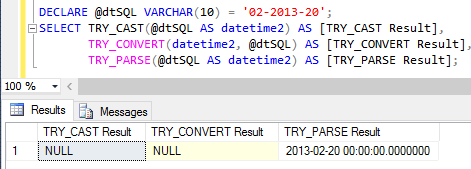 Uso das funções TRY_CONVERT, TRY_CAST e TRY_PARSE