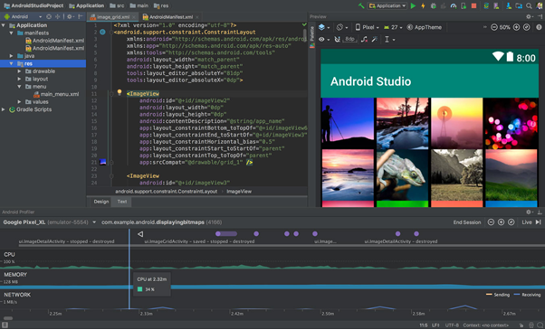 Interface do Android Studio