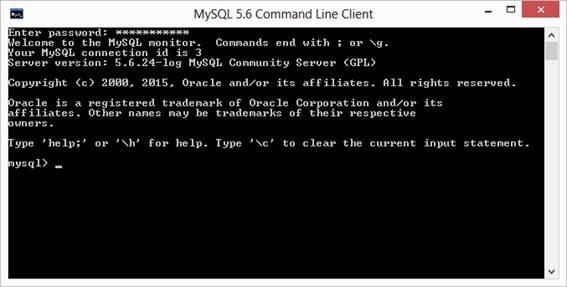 Aparência do MySQL 5.6 Command Line Client