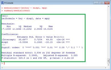Dados apresentados com a função summary