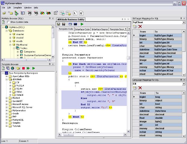 Software para gerar arquivos de mapeamento e entidade