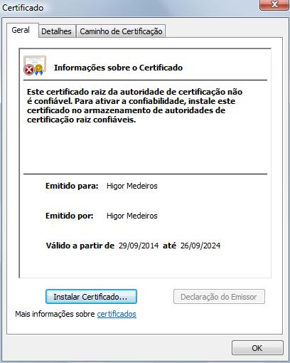 """Informações da aba """"Geral"""" do certificado"""