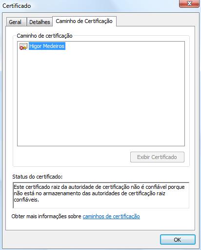 """Informações da aba """"Caminho de Certificação"""" do certificado"""