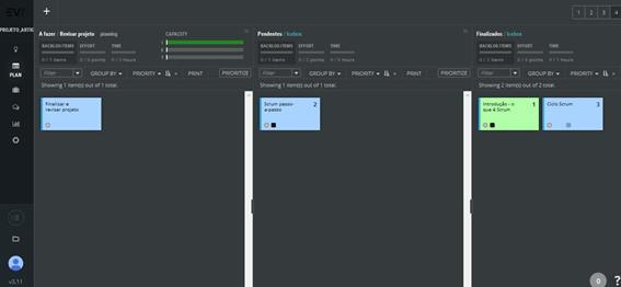 Gerenciamento de quadros usando o ScrumDesk